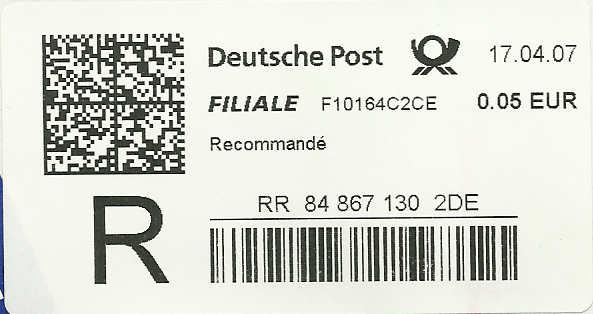 Reco-Aufkleber der Deutschen Post Dreco810