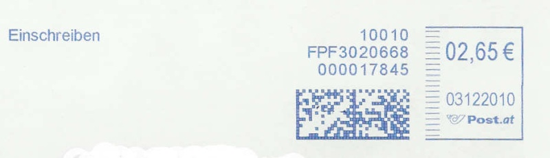 Freistempel mit Matrix-Code aus Östererreich Matrix10