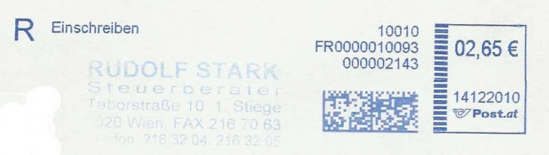 Freistempel mit Matrix-Code aus Östererreich Matrix11
