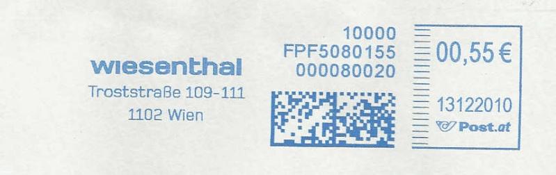 Freistempel mit Matrix-Code aus Östererreich Matrix13