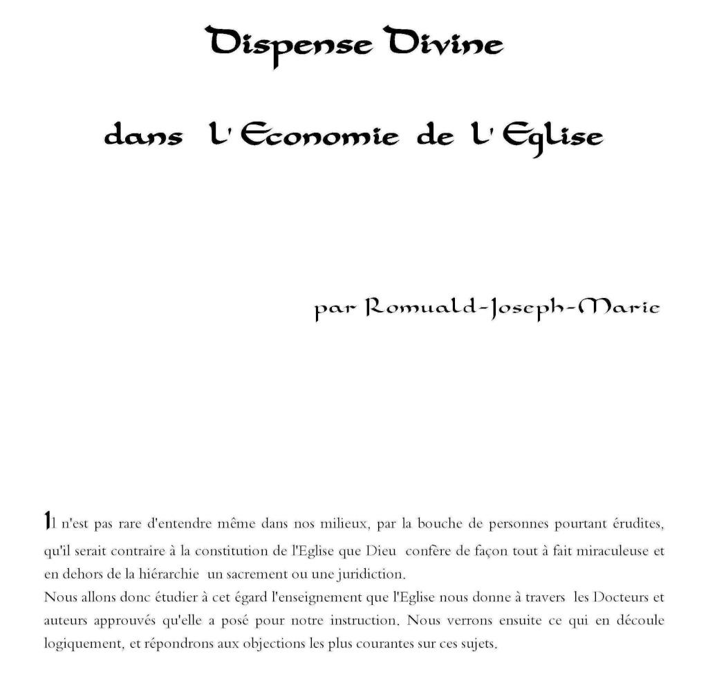 Dispense Divine dans l' Economie de l'Église.  De_1_a20