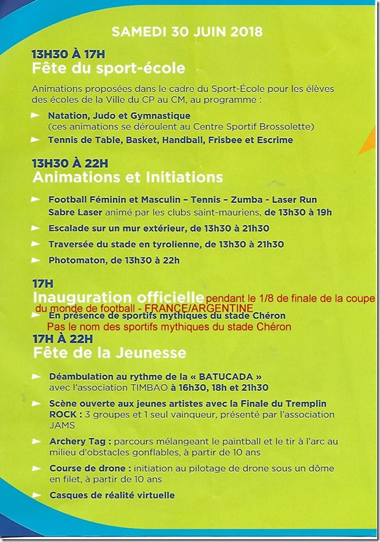 Inauguration officielle du Stade Chéron Progra10