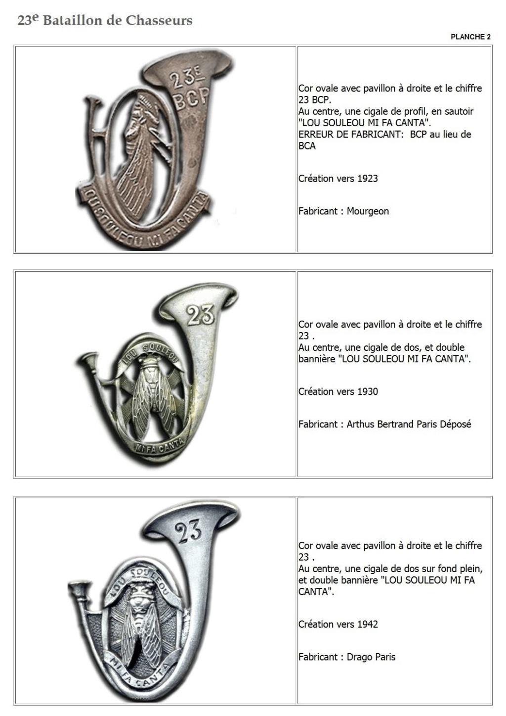 Les insignes de bataillons- Mise à jour... - Page 2 23e_pl12