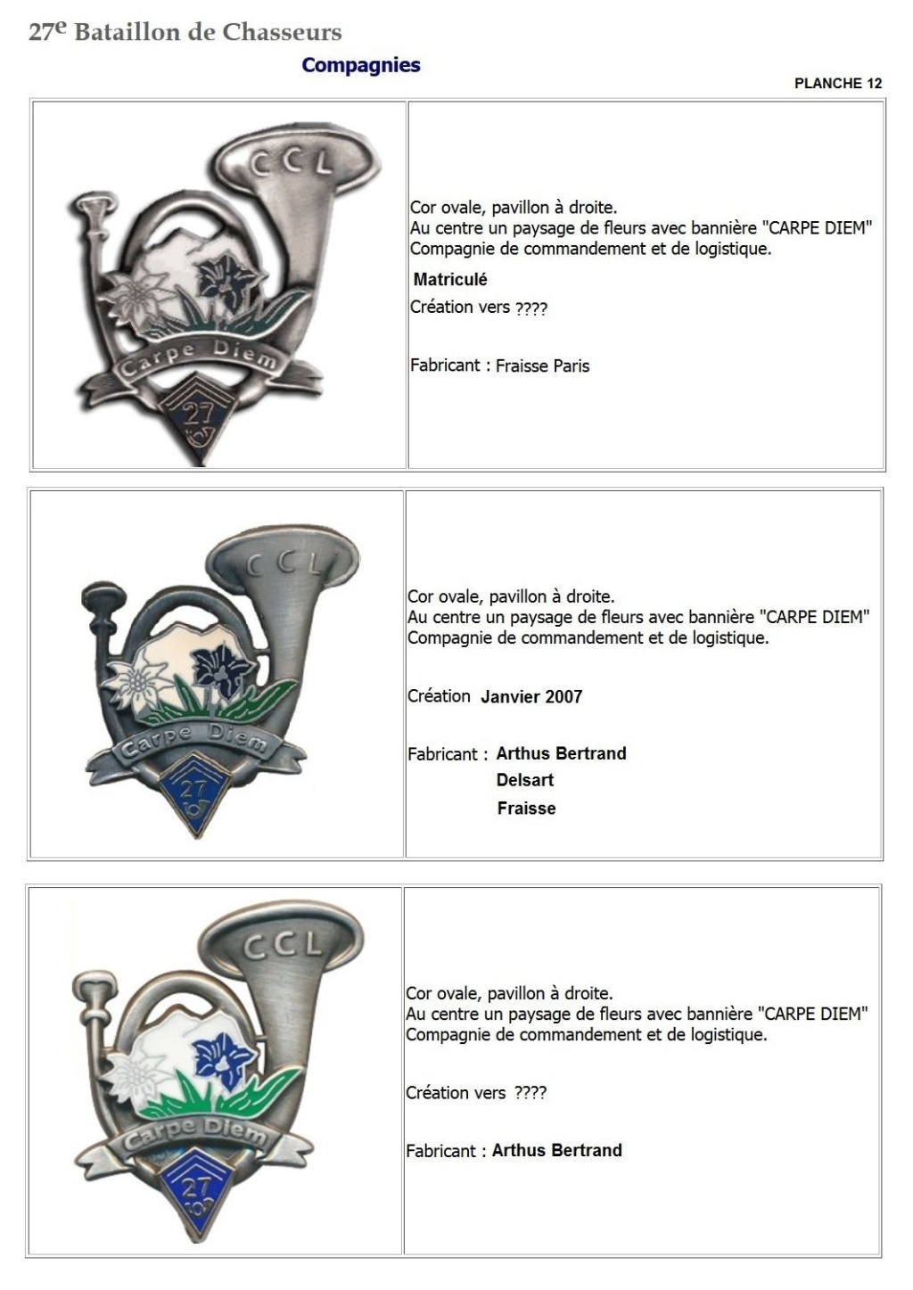 Les insignes de bataillons- Mise à jour... - Page 3 27e_pl20