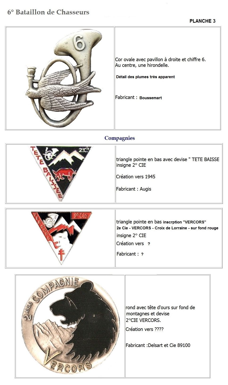 Les insignes de bataillons- Mise à jour... 6e_pla12