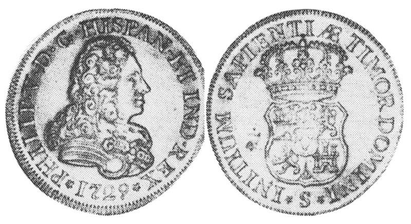 quadruple d'or espagnol Philippe V frappé en 1729 4_escu10