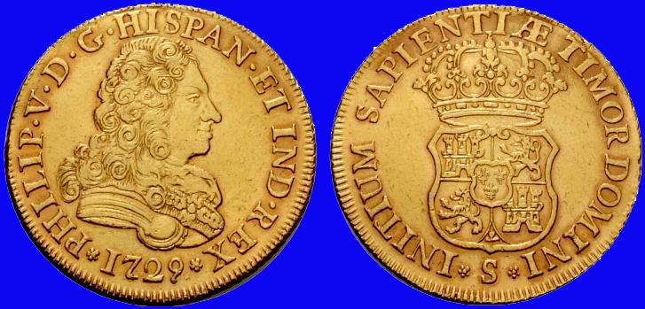 quadruple d'or espagnol Philippe V frappé en 1729 4_escu11