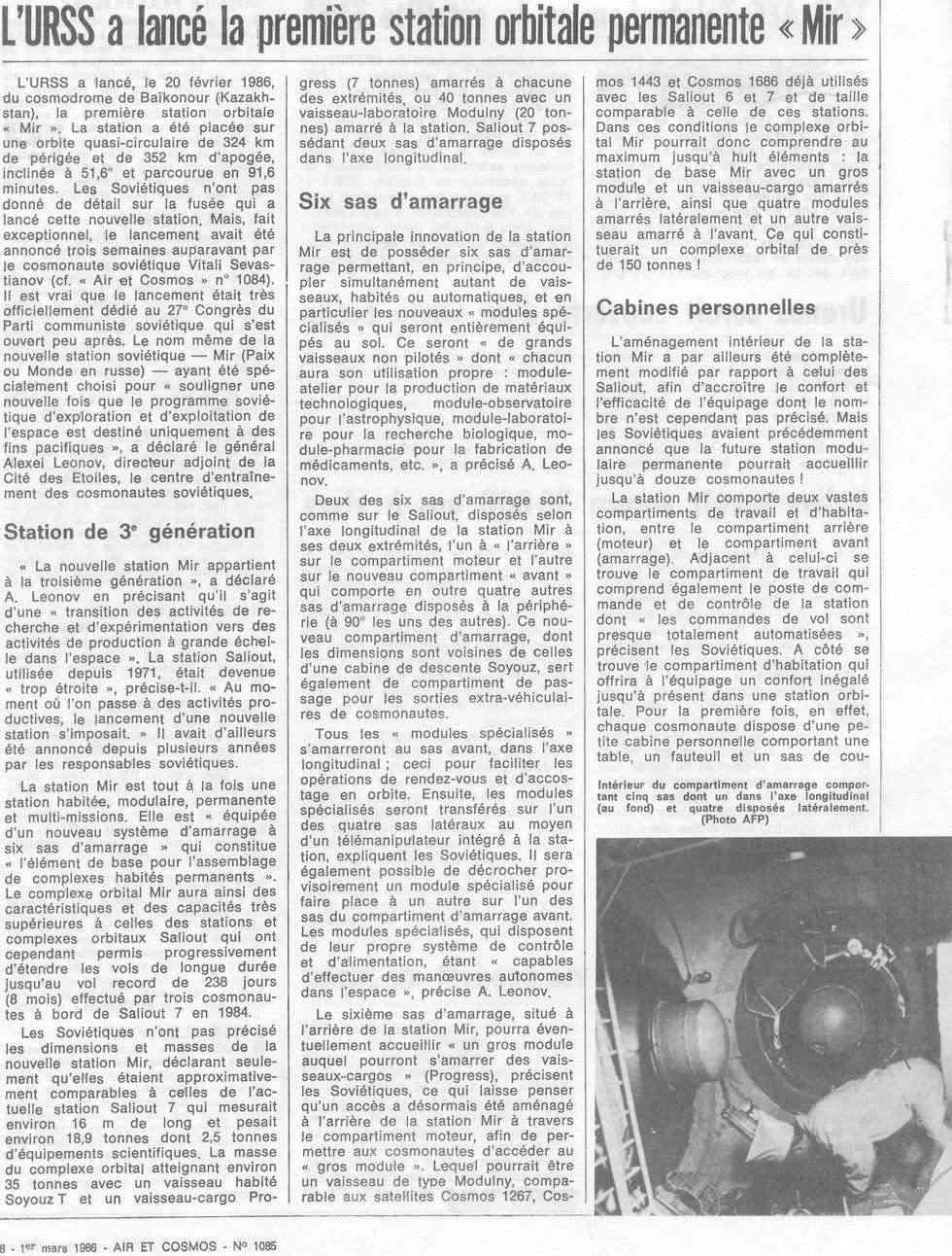 19 février 1986 - Station Spatiale MIR 86030110