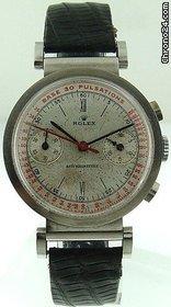 PIECE EXCEPTIONNELLE : TRES RARE Rolex chronograph 2 compteurs, anses articulées, référence 2705, numéro 38325,  acier des années 30; toute signée. 15318910