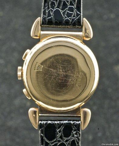 PIECE EXCEPTIONNELLE : TRES RARE Rolex chronograph 2 compteurs, anses articulées, référence 2705, numéro 38325,  acier des années 30; toute signée. 23002210