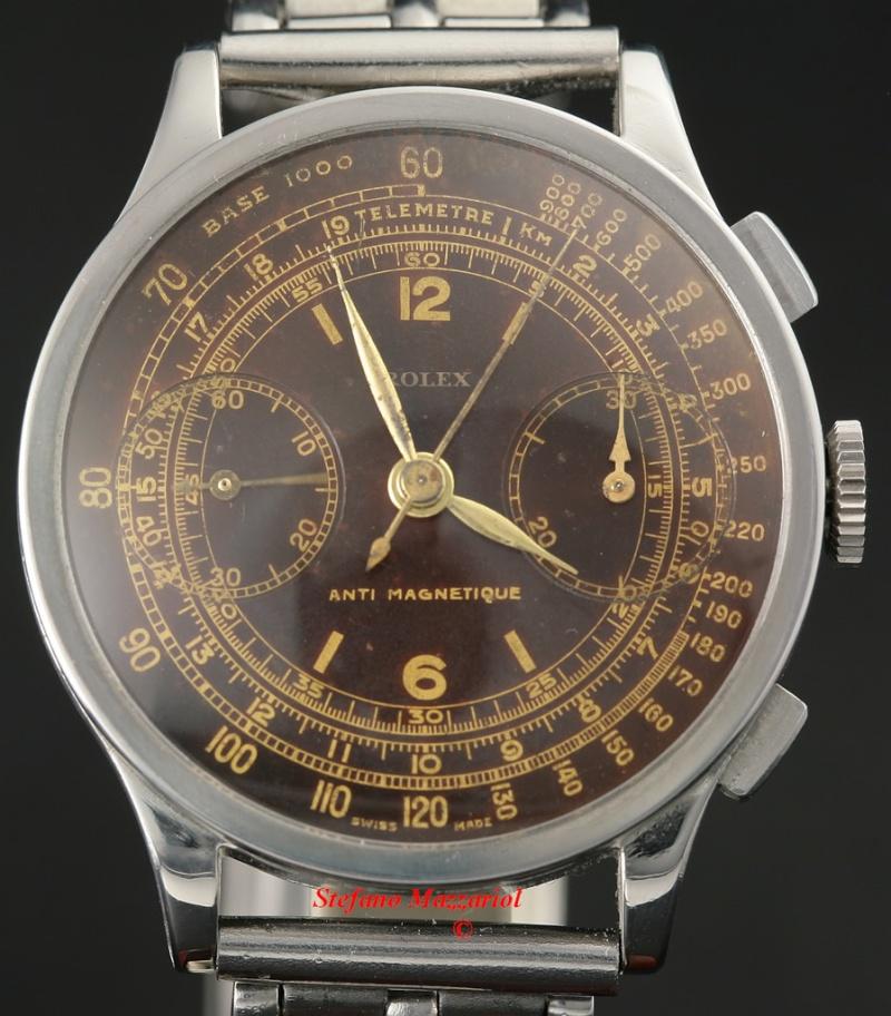 PIECE EXCEPTIONNELLE : TRES RARE Rolex chronograph 2 compteurs, anses articulées, référence 2705, numéro 38325,  acier des années 30; toute signée. 2508-110