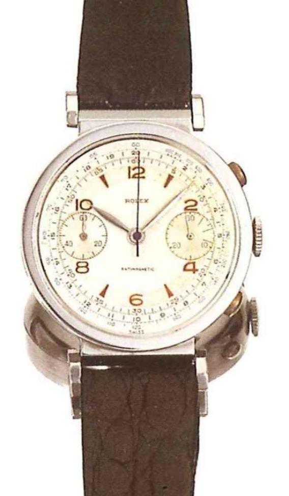 PIECE EXCEPTIONNELLE : TRES RARE Rolex chronograph 2 compteurs, anses articulées, référence 2705, numéro 38325,  acier des années 30; toute signée. 41164v10