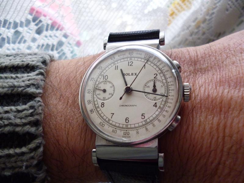 PIECE EXCEPTIONNELLE : TRES RARE Rolex chronograph 2 compteurs, anses articulées, référence 2705, numéro 38325,  acier des années 30; toute signée. Rolex_20