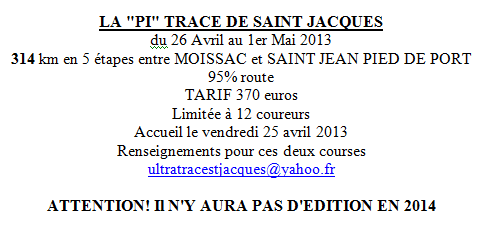 NEW! Pi'Trace de St-Jacques: 314km/5jours: 26avril-1er mai  Ultrat10