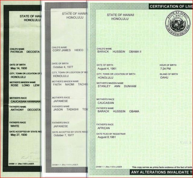 OBAMA's CERTIFICATON OF LIVE BIRTH (COLB)! Obamac11