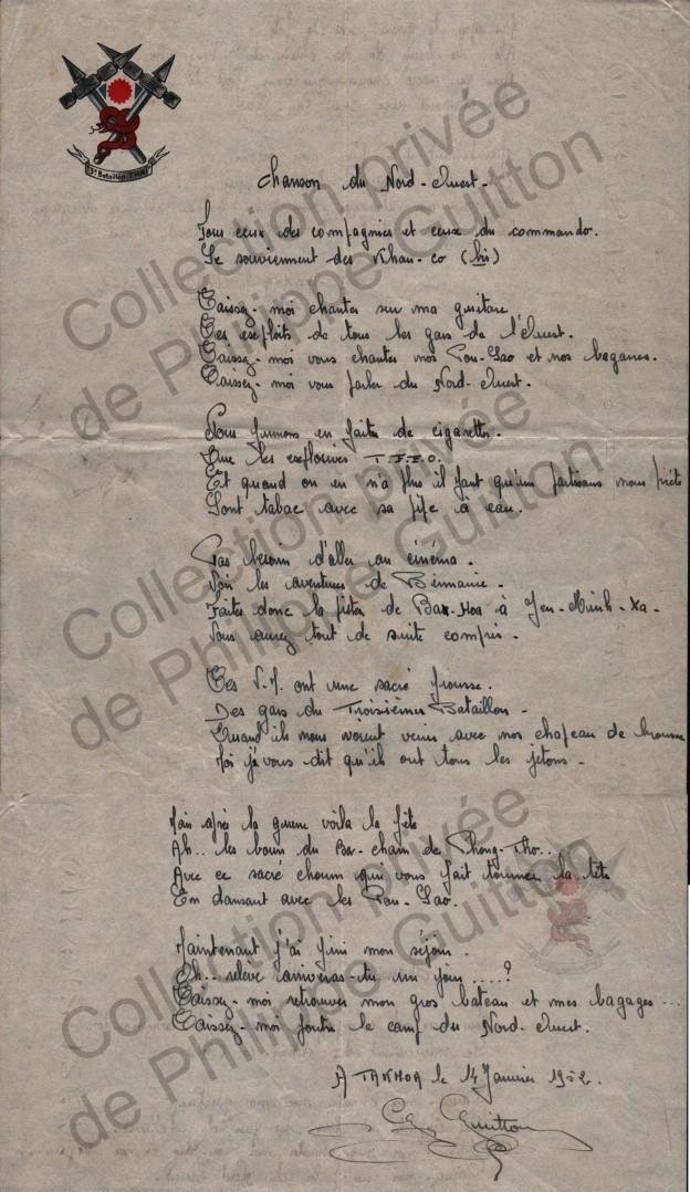 Chant du 3e bataillon thaï (non officiel) 19520110