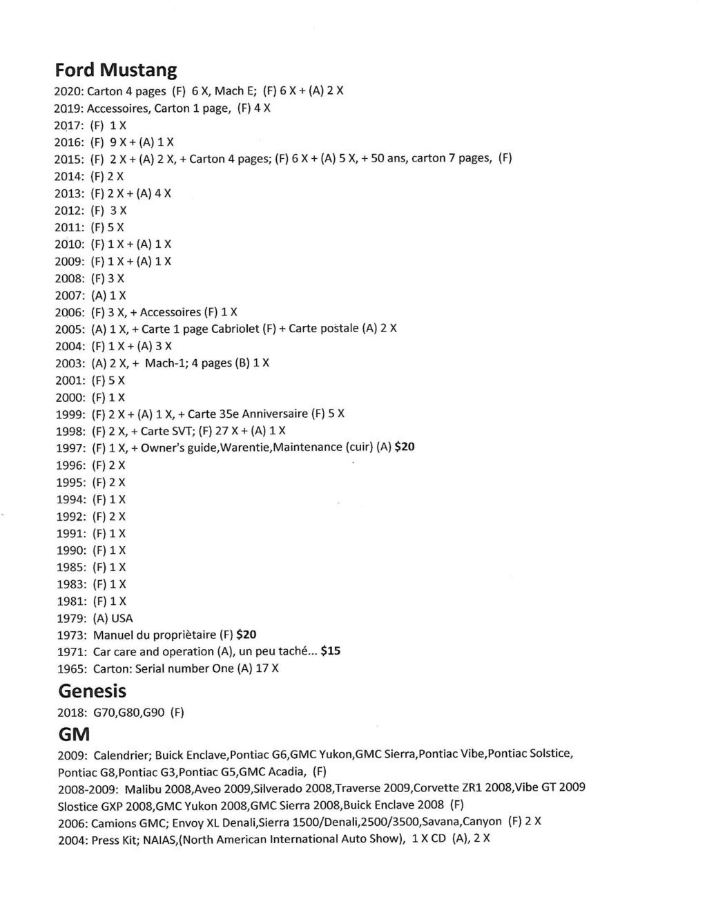 A vendre;Brochures de vente, Shop Manuel / Wiring Diagrams; de concessionnaires 1962 à 2020 Scan-912
