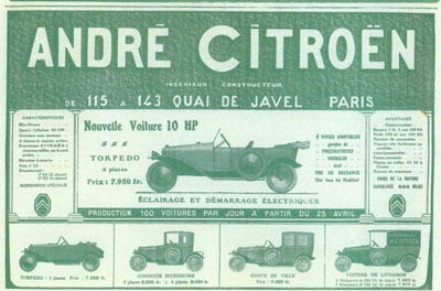 Publicités de CITROËN type A 10hp 10hp-a14