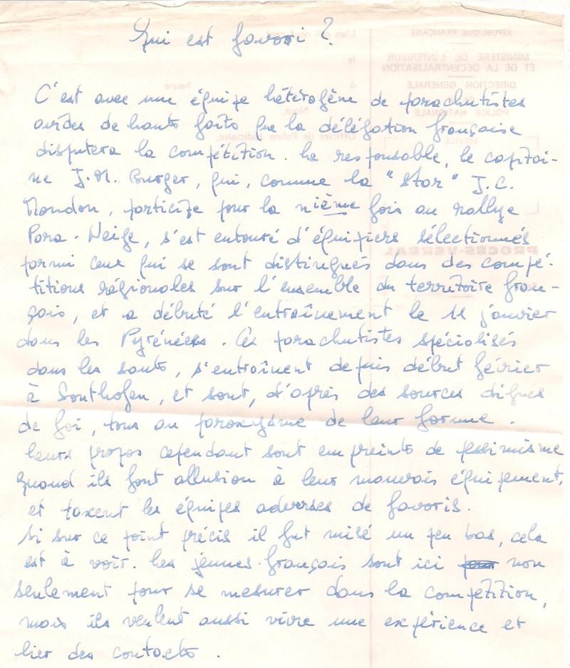 1970 sergent Jean-Claude Mondon Para neige à barrèges et Munick en allemagne Para_n12