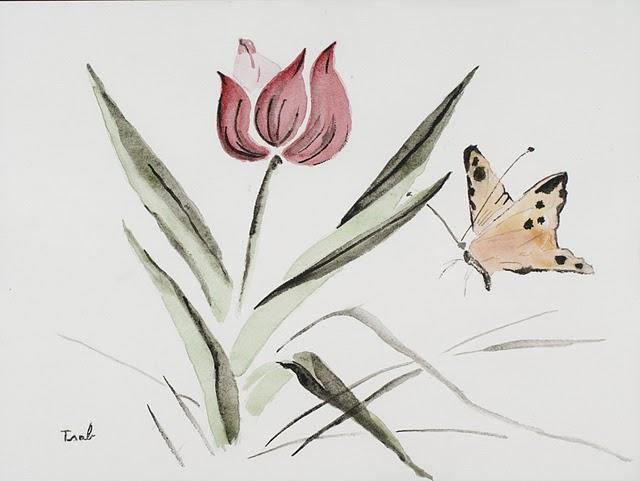Mes premières aquarelles, par Isabelle. - Page 2 Tulipe12