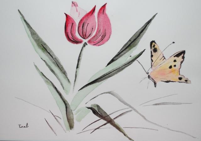 Mes premières aquarelles, par Isabelle. - Page 2 Tulipe13