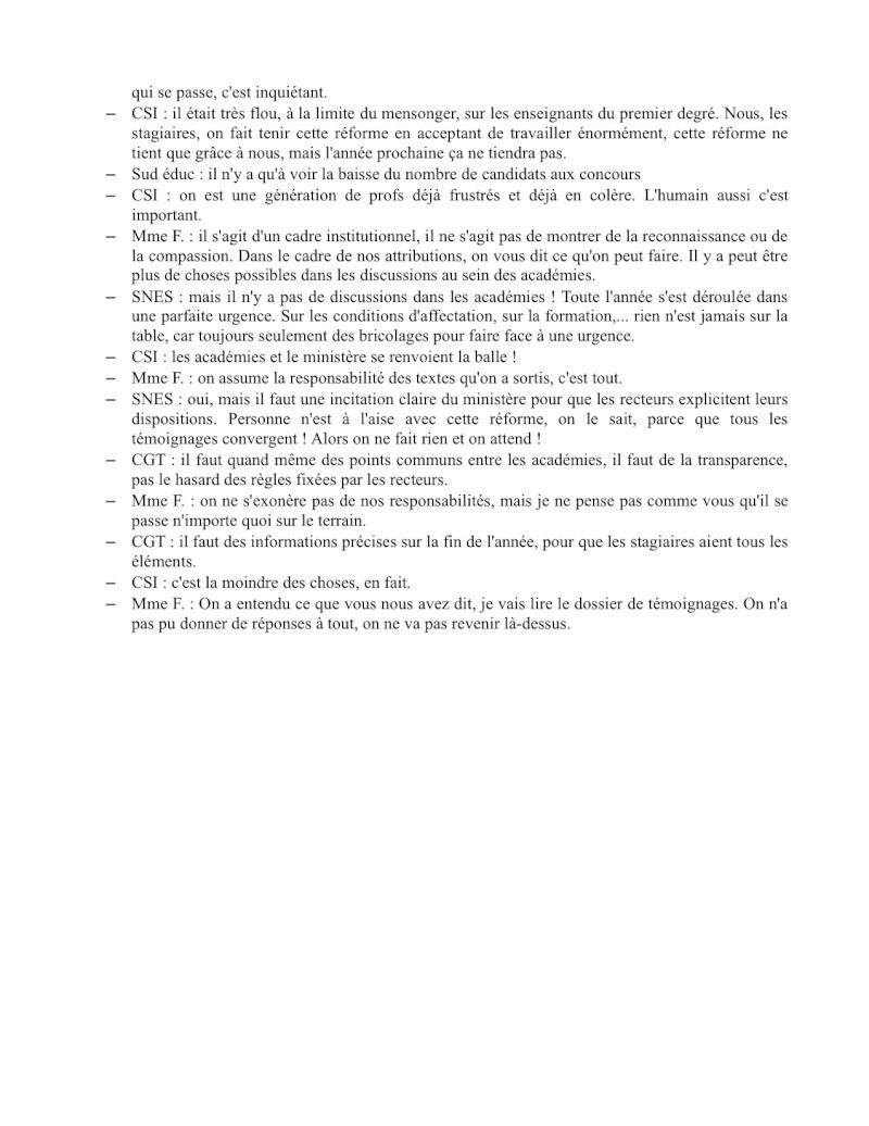 (C.R.) Rencontre 15 février STAGIAIRE IMPOSSIBLE & INTERSYNDCIALE au ministère Rencon15