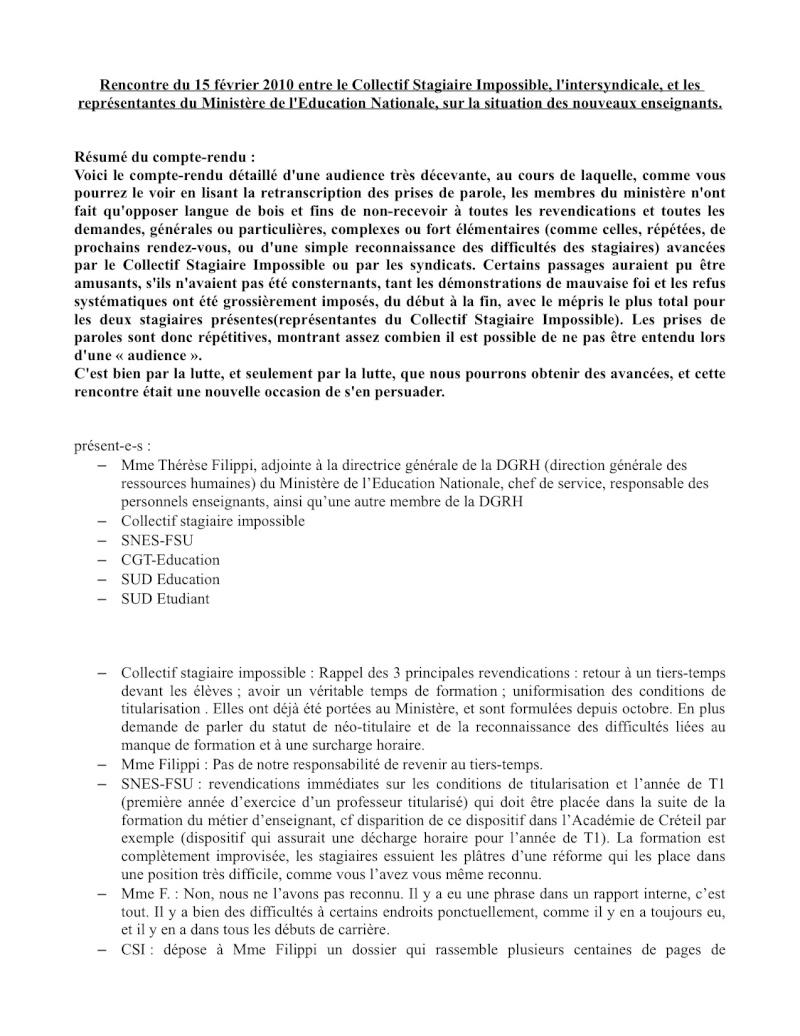 (C.R.) Rencontre 15 février STAGIAIRE IMPOSSIBLE & INTERSYNDCIALE au ministère Rencon16