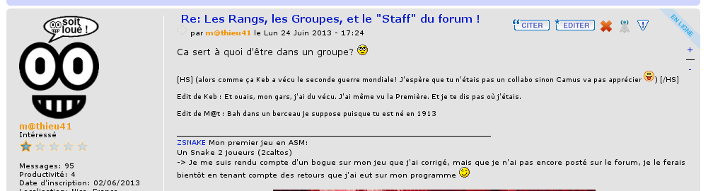 Bêtisier du forum :clown:  Teest310