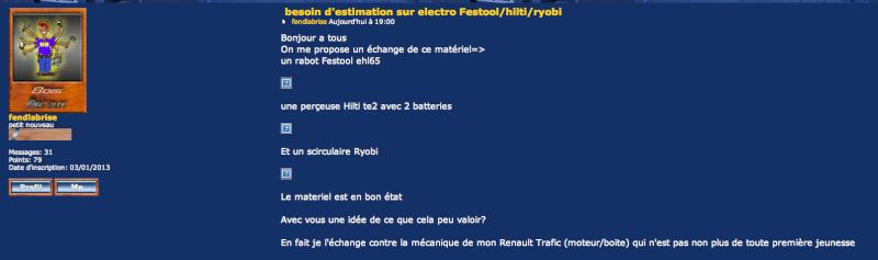 besoin d'estimation sur electro Festool/hilti/ryobi Captur10
