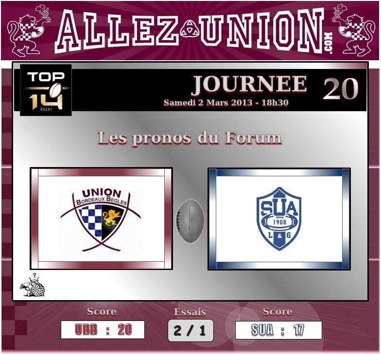 PRONO 2012 / 2013 (J20) UBB - SUA J2010