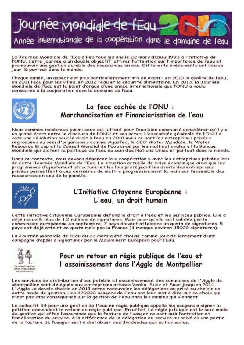 [Eau en Régie Publique] Journée Mondiale de l'Eau - 22 mars 2013 Affich11