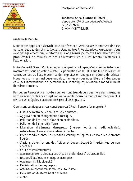 Courrier du Collectif à la Député 34 Le Dain + polémique CESER LR Coll3410