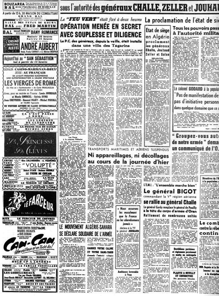 """ALGERIE PRESSE  1961 """"spécial PUTSCH""""  1ère partie 231"""