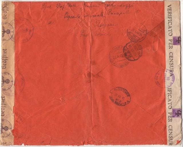 Lettre d'Asmara août 1942 pour Zurich, Contrôlée à Bordeaux. 1d_00010