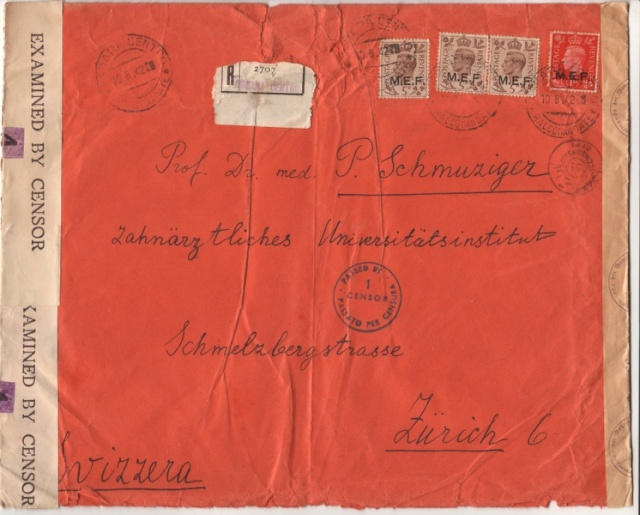 Lettre d'Asmara août 1942 pour Zurich, Contrôlée à Bordeaux. 1f_00010