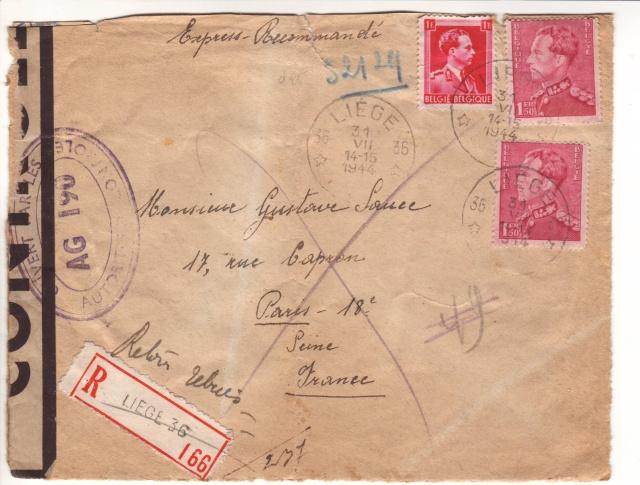 censure de la 3°période AG 190  sur lettre de Liège pour Paris. 5_a10