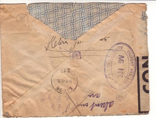 censure de la 3°période AG 190  sur lettre de Liège pour Paris. 5_d00010