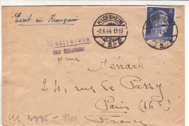 Censure allemande, bande de Cologne utilisée à Francfort/M en 1944 ! _9000110