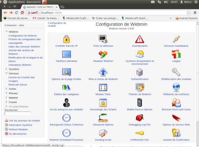 """Un coup d'oeil sur """"Webmin"""" un serveur web bien utile ! Captur14"""