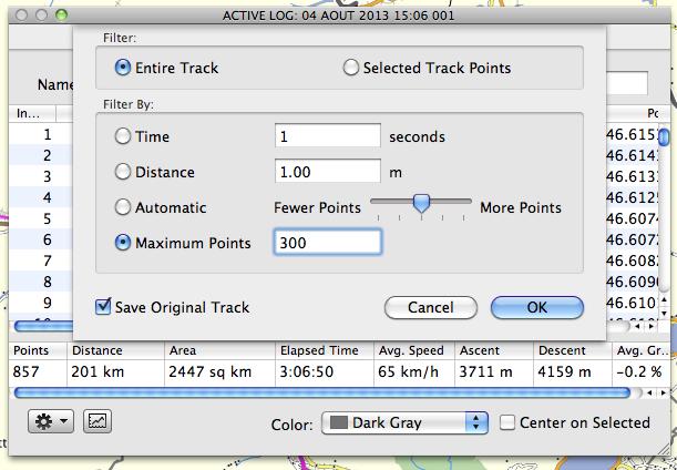 Logiciel réduction nombre de points sur un itinéraire gpx ? Screen17