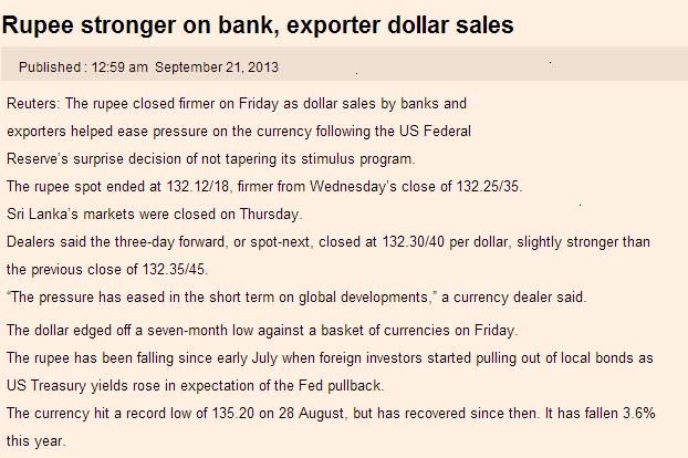 Colombo Bourse soars on US Fed's move Rupee10