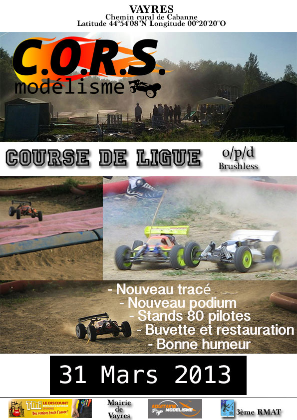 CORS de Vayres Ligue 15 : Course O/P/D/[b]Brushless[/b]/4x2 le 31 Mars Affich10