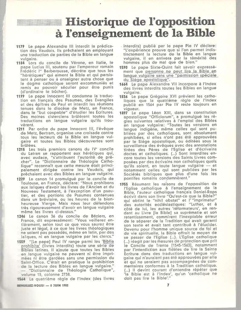 Historique de l'opposition à l'enseignement de la Bible Numar112