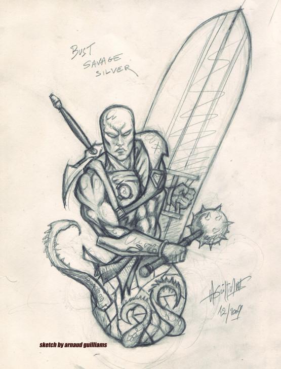 Buste Savage Silver (world war hulk) Sketch10