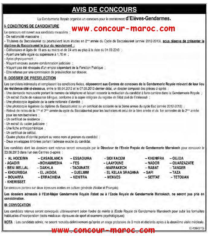 La Gendarmerie Royale organise un concours pour le recrutement d'Elèves-Gendarmes avant le 07 mai 2013 Conco120