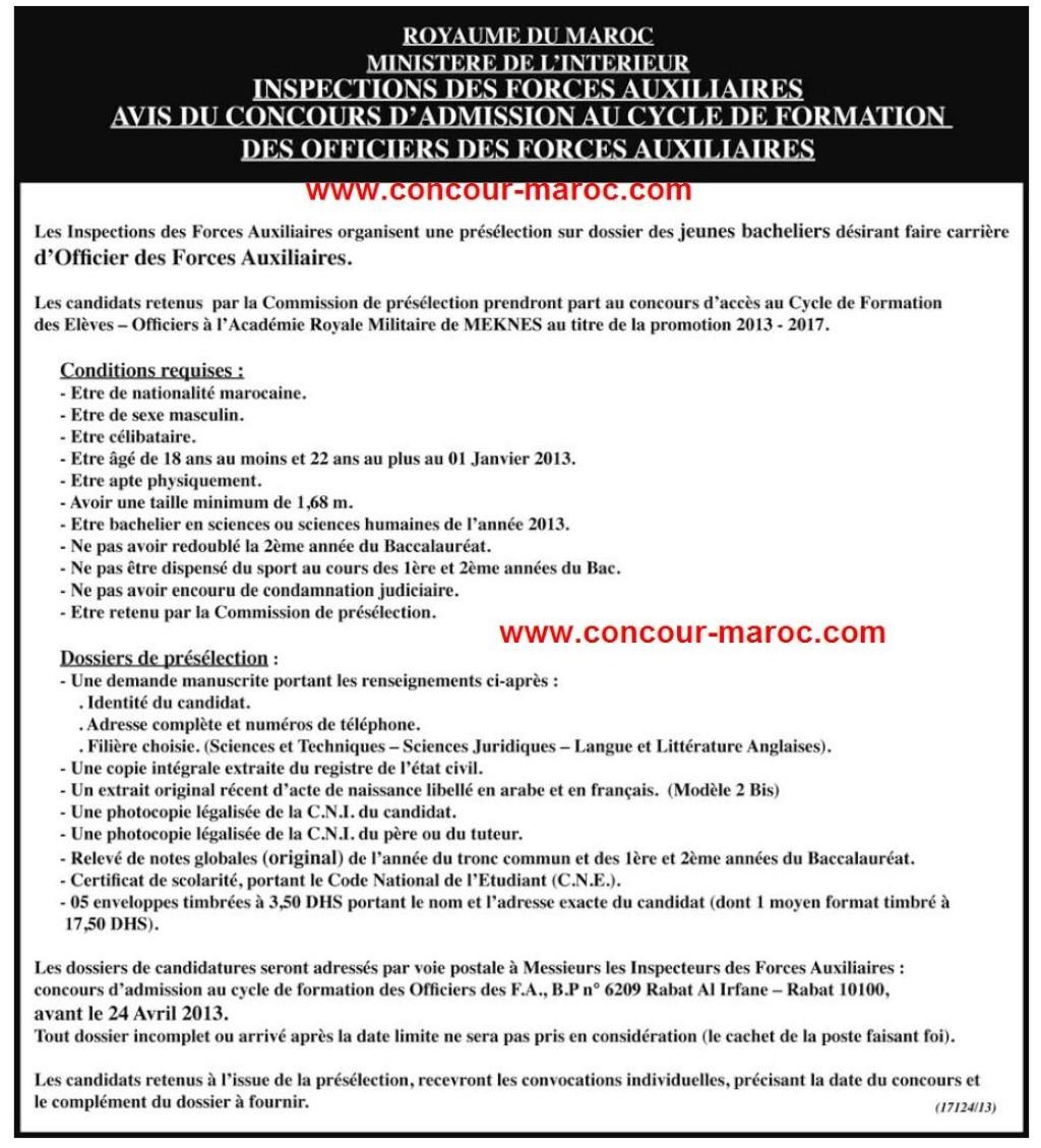 L'inspection Générale des Forces Auxiliaires : Concours d'accès au cycle de formation des officiers des Forces Auxiliaires avant le 24 avril 2013 Conco169