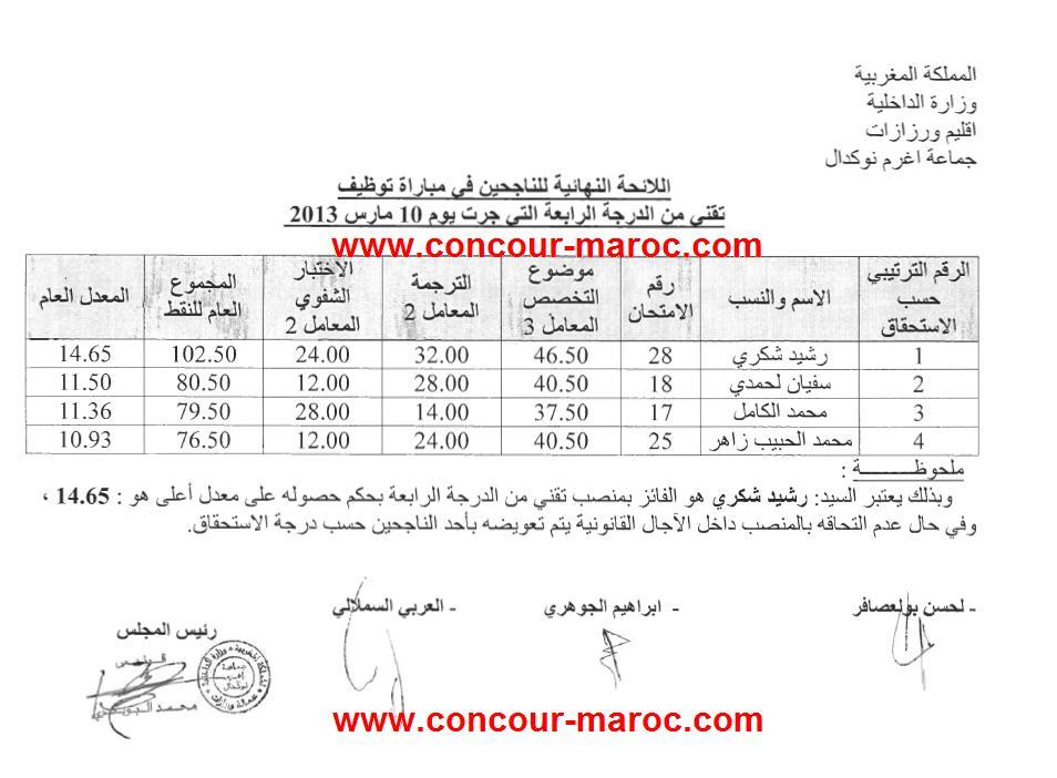 جماعة اغرم نوكدال اقليم ورزازات : لائحة الناجحين في مباراة توظيف تقني من الدرجة الرابعة دورة 10 مارس 2013  Conco180