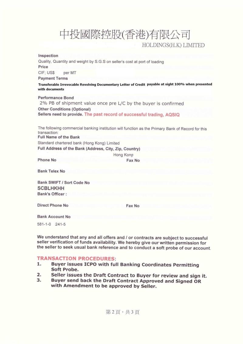 ICPO  Iron Ore  rejected  63.5 %   Icpo2_11