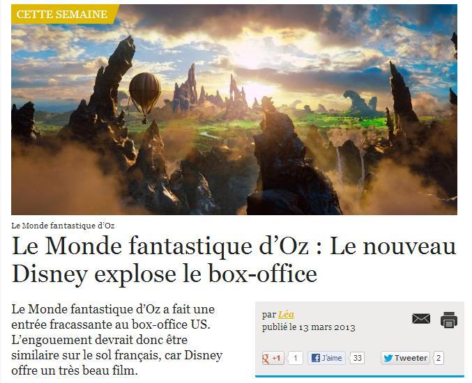 Le Monde fantastique d'Oz : Le nouveau Disney explose le box-office Monde-10