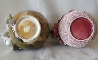Old Vase with handmade rose & leaves, is this Milton Pottery? 13971310